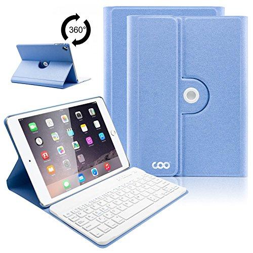 COO Funda Teclado Español iPad 2017 Bluetooth, 9,7 Funda Ultraliviano con Teclado Desmontable para iPad 2018 / 2017, iPad Pro 9.7, iPad Air 2 / 1 con Rotación de 360 Grados y Soporte Multiángulo (Azul cielo)