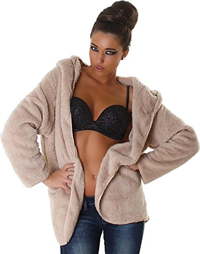 Jela London signore della camicia del maglione giacca giacca cardigan Teddy Velcro Maniche lunghe con cappuccio 40,42,44,46. Beige