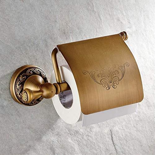 Messing Toilettenpapier Halter (Wchaoen Retro an der Wand befestigter antiker Messing-Toilettenpapier-Behälter-Gewebe-Rollen-Stange-Regal-Halter-Badezimmer Werkzeugzubehör)