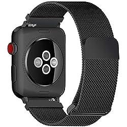 Fullmosa Bracelet Compatible avec Apple Watch/iwatch 38mm 40mm 42mm 44mm, 4 Couleurs Web pour Bracelet Apple Watch Series 4/3/2/1 Milanese en Acier Inoxydable avec Fermeture Magnétique, Noir 38mm