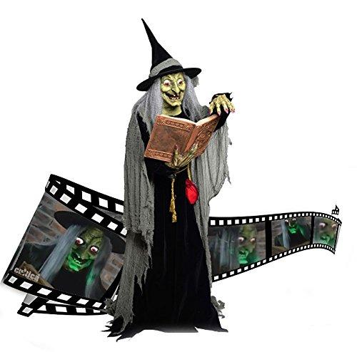Animatronic Halloween Hammer Hexe mit Zauberbuch lebensgroß mit Buch Sound Bewegung USA Profi Deko Show Party Fun