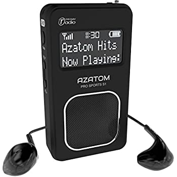 AZATOM Pro Sports S1 DAB Digital Portable FM Radio DAB DAB+ & FM - Built-in Rechargable Battery (Upto 20 Hours Playtime) - Compact - Built-in Speaker - Earphones included (Black)