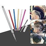 Oyalaiy Hair Engraving, Pen Razor Shaver Beard Hair Design Hair Tattoo Razor Trim Styling Eyebrows Pen Barber Stainless Steel Shavings (ROSE RED)