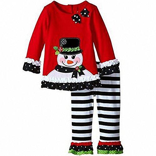 2017 Winter Baby Mädchen Niedlich Weihnachten Kleid Set T-Shirt + Hosen 2 Stücke Kinder Party Outfits (Halloween Kostüme Niedlich 2017)