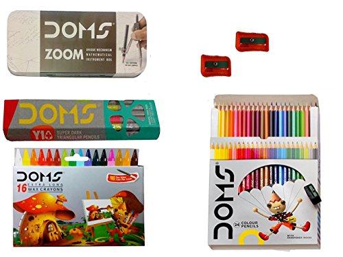DOMS ZOOM GEOMETRY BOX + DOMS FULL SIZE COLOUR PENCIL ( 24 SHADES ) + DOMS WAX CRAYONS (16 SHADES ) + DOMS Y1 PLUS PENCIL + DOMS EXTRA LONG PENCIL SHARPENER