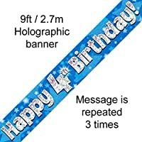 4th Birthday Blue Holographic Banner by Signature Balloons