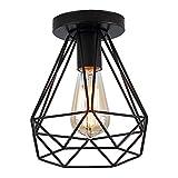 Industriell Vintage Deckenlampe Metall vintage deckenleuchte halb Erröten-Einfassung-Licht mit 1 Lichtern Schwarz E27 Max 40W für Flur,Gang,Schlafzimmer,Esszimmer,Wohnzimmer