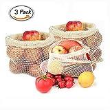 Sparta's Store 100% Coton Naturel Sac en Filet de légumes. Sacs de Fruits et légumes réutilisables en Coton. Ensemble Trois pièces (1L, 1M, 1S). Durable!
