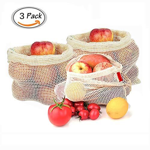 Sparta's Store Obst- und Gemüsebeutel,Gemüsebeutel aus Baumwolle,Wiederverwendbar einkaufsnetze.Natural Mesh Baumwolle,3er Set (S,M,L)