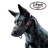 FRETOD Museruola per cane in nylon,2 pacchi contro morsi e abbaio, con morbida anello regolabile - L & XL (nero)