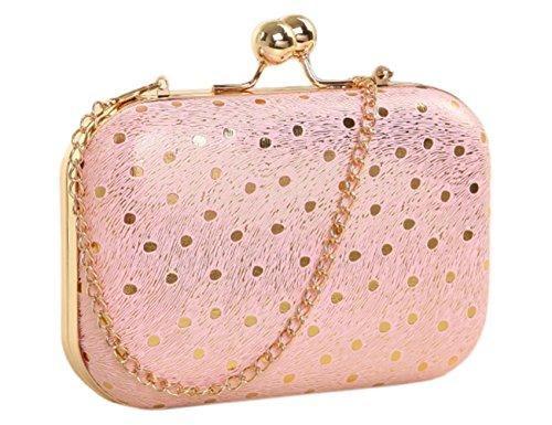 Lawevan Es Taschen Kollektion Damen Damen-Süßigkeit-Farben Cluth Box Taschen Abendtaschen Schultertasche Rosa Punkt