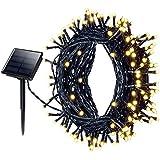 22 Meter 200 LED Mpow Solar Lichterketten 8 Modi wasserdichte Outdoor-Beleuchtung Weihnachtsbeleuchtung Solarbetriebene Lichterketten Sternenlicht für Garten, Terrasse, Garten, Haus, Weihnachtsbaum, Feste, Hochzeit