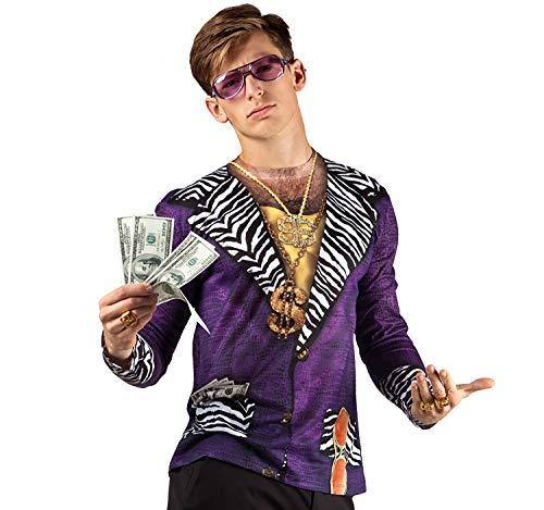 Unbekannt Herren Kostüm Prolet Pimp fotorealistisches Shirt mit Dollar-Kette lila Gold Fasching JGA - Lila Kostüm Pimp