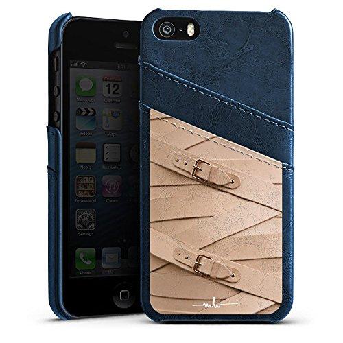 Apple iPhone 5 Housse étui coque protection Boucle Cuir Mode Étui en cuir bleu marine
