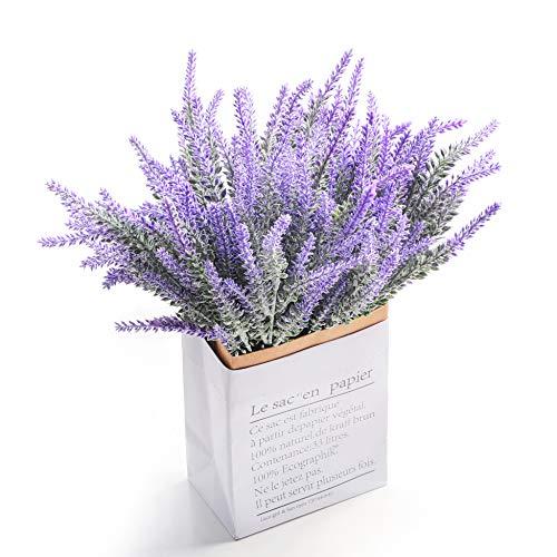 Veryhome 6pcs fiori di lavanda artificiale falso real touch lavanda pianta decorazione per festa di nozze home outdoor