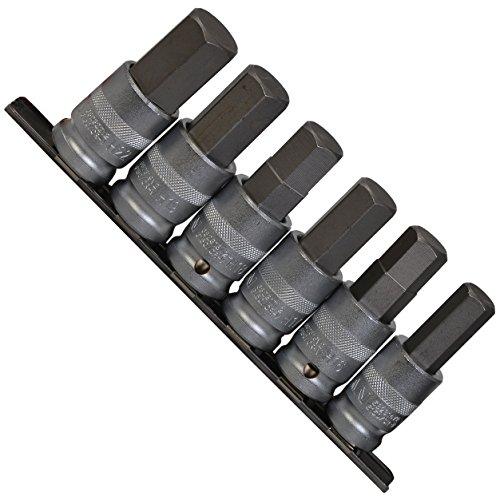 """Innensechskant Kraft Steckschlüsselsatz mit Bohrung für Kugelarretierung/Schraubendreher-Einsätze 14-22 mm Einsatz/Steck-Nuss für Innen-6-kant Schrauben 1/2\"""" Cr-V auf Steckleiste, 6-tlg."""