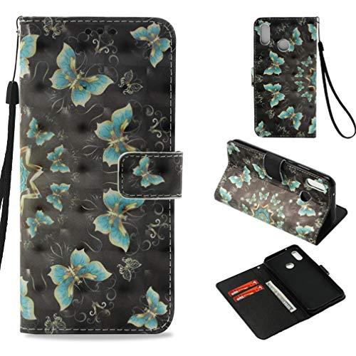 Firefish Huawei P20Lite, Huawei Nova 3E Fall, Slim 3D-Druck Wallet Cover Schutzhülle mit Ständer mit Innen weich Bumper Cover Kreditkarte Halterung für Huawei P20Lite/Huawei Nova 3E grün 3d-fall