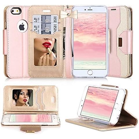 Funda iPhone 6s Plus, Funda iPhone 6 Plus, Fyy Estuche de cuero de primera PU,diseñado con espejo cosmetico y correa de mano con mo?o para iPhone 6S Plus(5.5-inch screen) Rosa Dorado