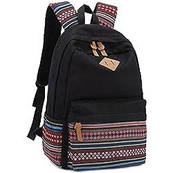 Mochila a rayas ideal para colegio, viaje, portátil, para chicos y chicas jóvenes negro negro