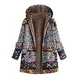 BHYDRY Womens Winter Warm Outwear Floral Print Hooded Pockets Vintage Oversize Coats(blau,EU-36/CN-M)