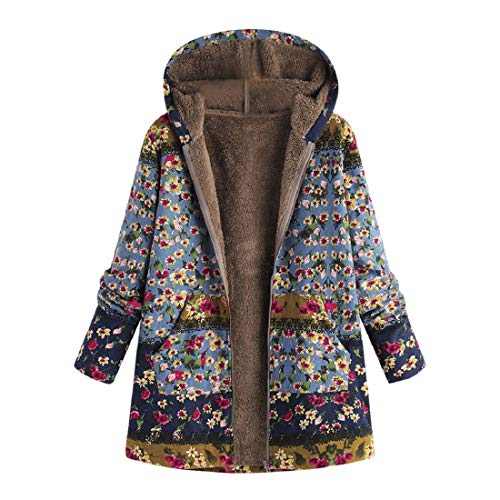 (BHYDRY Womens Winter Warm Outwear Floral Print Hooded Pockets Vintage Oversize Coats(blau,EU-36/CN-M))