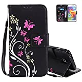 Etui Coque Galaxy S5 Neo, Aeeque Mode Papillon Fleur Motif...