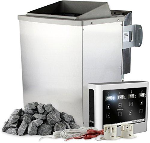 Saunaofen 9 kW mit externer Steuerung EASY mit Touch-Display inkl. 20 kg Saunasteine Olivin-Diabas Bio-Kombiofen mit Verdampfer (Ausgewählte Variante: Bio-Saunaofen 9 kW mit Verdampfer)