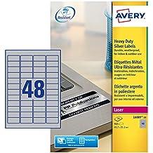 Avery Silver Heavy Duty Labels - Laser - L6009 - Etiquetas de impresora (Plata, Laser)