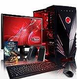 VIBOX Scope Pack 4 PC Gamer - 3,9GHz APU Dual Core AMD A4, GPU GT 710, Budget, Famille, Multimédia, Ordinateur PC de Bureau Gaming paquet de jeux, avec Écran, Éclairage Interne Rouge (3,7GHz (3,9GHz Turbo) Processeur APU/CPU Dual Core AMD A4-6300 Ultra Rapide, Carte Graphique Dédiée Nvidia GeForce GT 710 1 Go, 8 Go Mémoire RAM DDR3 1600MHz Grande Vitesse, Disque Dur Sata III 7200rpm 1 To (1000 Go), PSU 400W 85+, Boîtier Gamer Vibox Commando Rouge LED, Pas de Système d'Exploitation Windows)