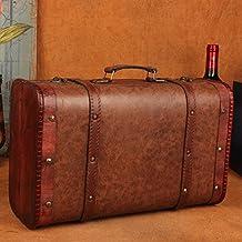 Y&M Maleta vintage. Brown-estilo arte y artesanía antiguos ornamentos de madera. adornos