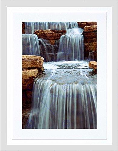 Cascading Rock (CASCADING WATERFALL OVER NATURAL ROCKS HOME BLACK FRAMED ART PRINT B12X9483)