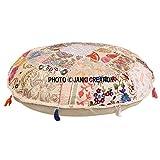 Janki Creation Sitzkissen, rund, Bohemian-Stil, Vintage, Pouf/Hocker, 100% Baumwolle, Kissenhülle, Schutzhülle, für nicht im Lieferumfang enthalten, bestickt, Vintage-/Pouf, indischer Stil