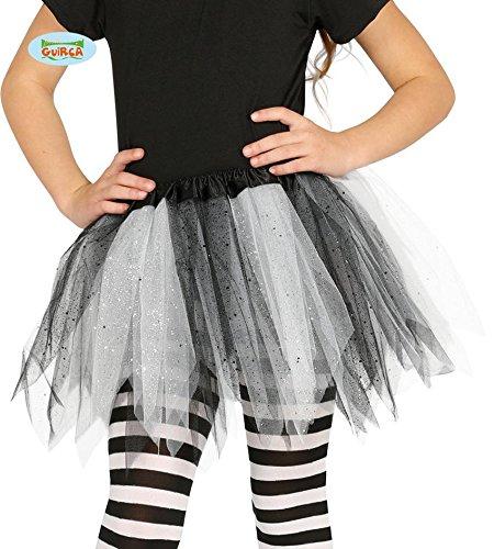 Tütü Tutu schwarz-weiß mit Glitzer für Kinder Fee Ballett Party Rock Tänzerin ca. 30cm