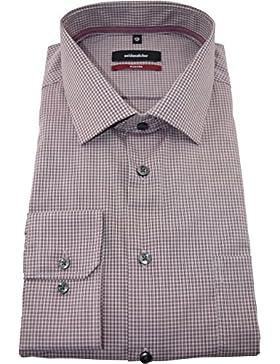 Seidensticker Herrenhemd modernfit rotes Karohemd Kent langarm bügelfrei mit Tasche Kollektion Size 45