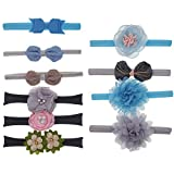 Bosue Bowknot Baby Headband Set,10Pcs Floral Headwear Elastic Cute Soft Hair Band For Newborn Childrens Gift Baby Girls Christening Hairband Photography Accessories Toddler Headdress