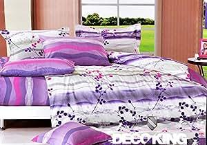 155x200 violett erika rosa weiß mehrfarbig Bettwäsche Bettbezüge Bettwäschegarnituren 100% Baumwollsatin Blättermuster 121