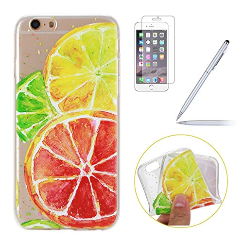 iPhone 6 Hülle,iPhone 6S Silikon Case,iPhone 6 Cover - Felfy Ultradünne Weicher Gel Flexible Soft TPU Silikon Transparent Hülle Schutzhülle Hülle Color Muster Farbmalerei Beschützer Hülle Handy Durchs Zitrone Case