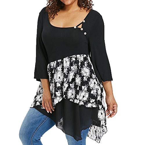VEMOW Plus Size Fashion Sommer Herbst Lady Lace Damen Langarm T-Shirt Casual Top Bluse(X6-c-Schwarz, EU-46/CN-2XL)
