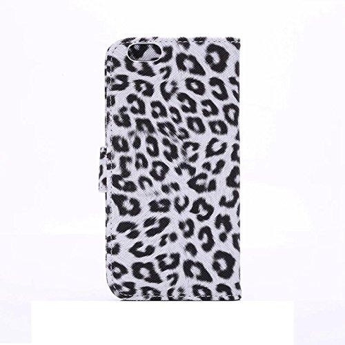 """inShang Hülle für Apple iPhone 6 iPhone 6S 4.7 inch iPhone6 iPhone6S 4.7"""", Cover Mit Modisch Klickschnalle + Errichten-in der Tasche + GRID PATTERN, Edles PU Leder Tasche Skins Etui Schutzhülle Stände leopard white"""