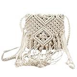 TOOGOO Fringe Tassel Crossbody bandolera tejida a mano Boho Beach Travel bolso para mujer, blanco