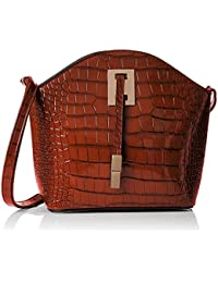 SwankySwans  Alex Croc Patent Leather Shoulder Bag Dark Brown, Sacs bandoulière femme
