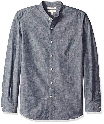 Goodthreads Herren Regular-Fit Chambray-Hemd mit langen Ärmeln und Stehkragen, Blau (Navy Nav), Small