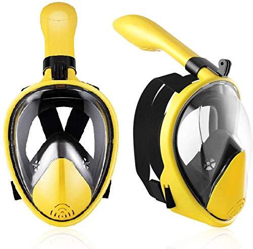 DLZY Schnorchel Maske, volle Gesicht Schnorchelmaske, 180 ° Panorama-Design, Schnorchel Maske Anti-Fog und dicht Design, einfacher Atem trocken