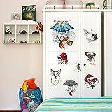 IDECORATE Adesivo da Parete per Bambini,Cartoon Fashion Cani Adesivi Murali Decalcomanie da Muro Rimovibili Fai da Te per La Camera dei Bambini Ragazzo Camera da Letto Animale Home Decor Poster