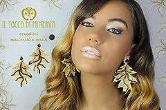 Idea Regalo - Orecchini oro/nero in moosgummi e swarowski Thara - Realizzati a Mano - Made in Italy-HandaMade-Regali ragazza-Artigianale-idee regali originali-regali di natale-regali per lei-regali di San Valentino