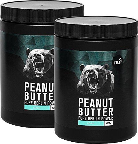 nu3 Erdnussbutter/Peanut Butter, 2kg - pure natürliche Erdnussbutter/Erdnussmus Vegan und ohne Zucker oder sonstige Zusätze von Salz, Öl oder Palmfett, mit 28g Protein pro 100g