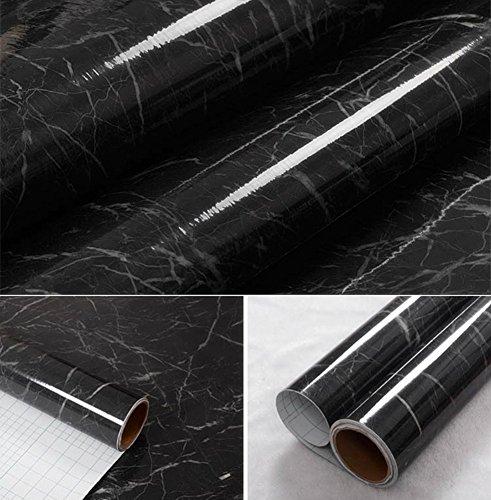 Wdragon pellicola in vinile autoadesiva, colore: nero/grigio/marmo, per piano di lavoro della cucina, adesivo da parete, 60 x 200 cm, vinile plastica, 24in x 79in