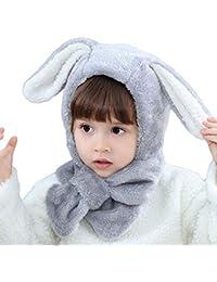5574724f0b9 ITODA Bonnet 2 en 1 Chapeau-Echarpe Bonnet d hiver Chaud Epais Protection  Tête Oreille Coupe-Vent Motif d oreilles de…