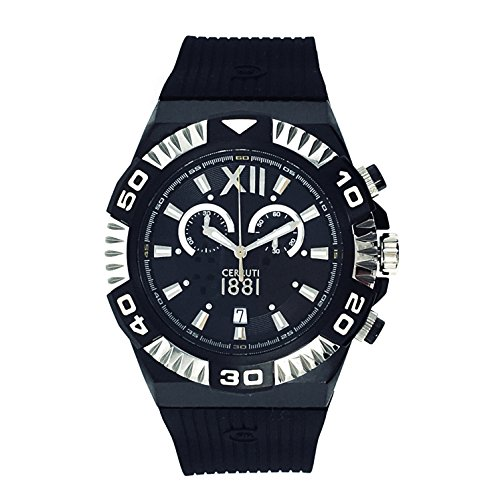 Cerruti 1881Diamond crwa038F224q Hombres Reloj cronógrafo 44mm correa de caucho de color negro fabricada en Suiza plata tono