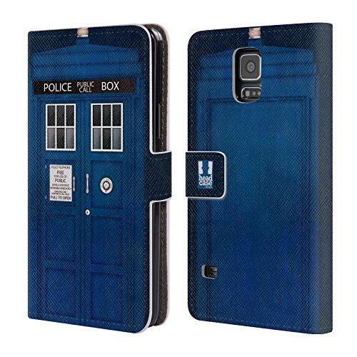 Head Case Designs Police Box I Love London Leder Brieftaschen Huelle kompatibel mit Samsung Galaxy S5 / S5 Neo (Galaxy S5 Samsung London Case)